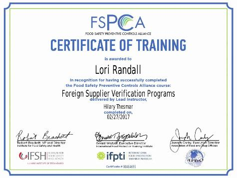 FSMA FSVP 2 day Training for Certificate
